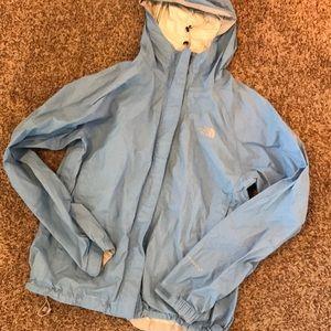 Light blue north face rain jacket